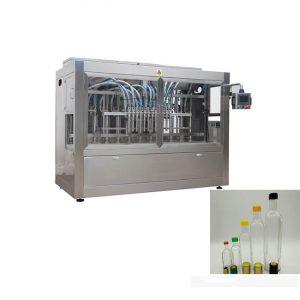 خط پر کردن بطری مایع با دستگاه بسته بندی بطری و دستگاه برچسب زدن دو طرفه